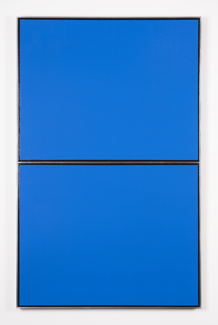 KUWAYAMA, Tadaaki (Japanese, b. 1932) Untitled (Blue) TK4139-1:4'65 1965 Acrylic on canvas with aluminium strip 39 3:16 x 24 13:16 in.